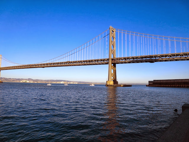 Bay Bridge in San Francisco on a sunny fall day