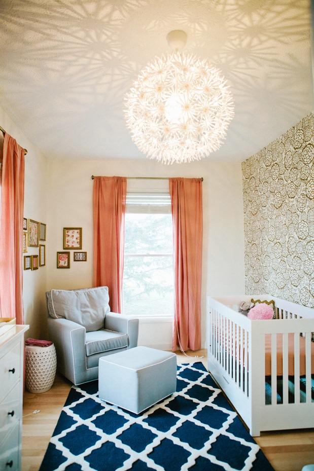 Nursery Baby Room Peach Drapery Drapes Gold Wallpaper Rose Flower Print Bedroom Kids Ikea Ps Maskros