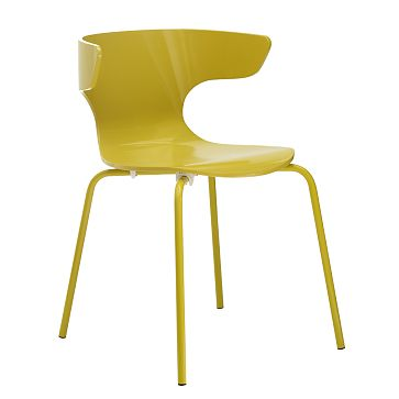Yellow lacquer wood and metal wingback dining chair from West Elm