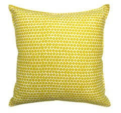 Canvas pillow with yellow beads printed on it from Weego Home