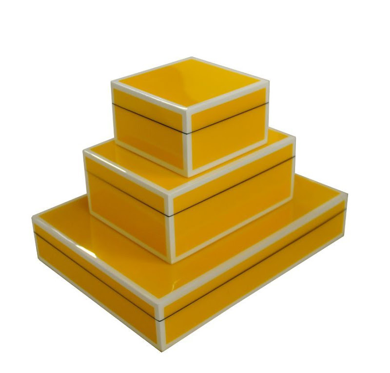 Yellow Lacquered Boxes with white trim from Plantation
