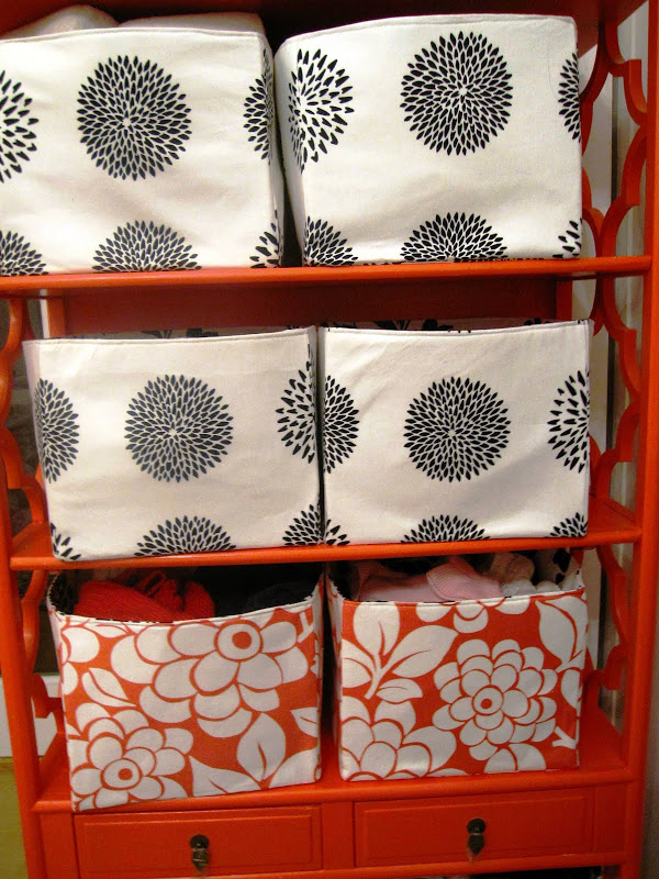 Custom fabric storage boxes in a nursery