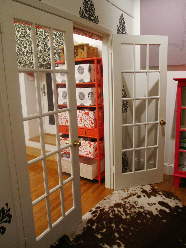 French doors leading inside a nursery in a NYC loft