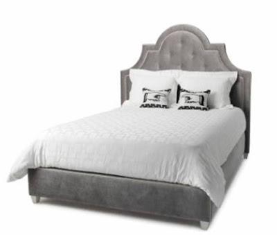 Grey upholstered tufted headboard from Jonathan Adler