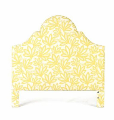 Yellow floral patterned upholstered headboard from Anthropologie