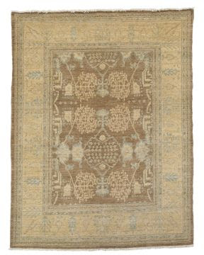 Tan and blue Asian tribal carpet inspired rug from William Sonoma Home