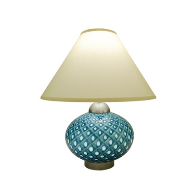 Blue glass lamp with a pebble pattern by Union Street Glass from Croft & Little