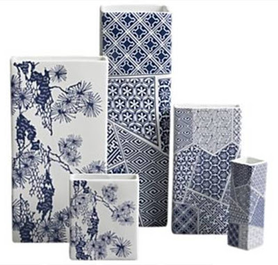 Blue and white Asian inspired porcelain vases from Crate and Barrel