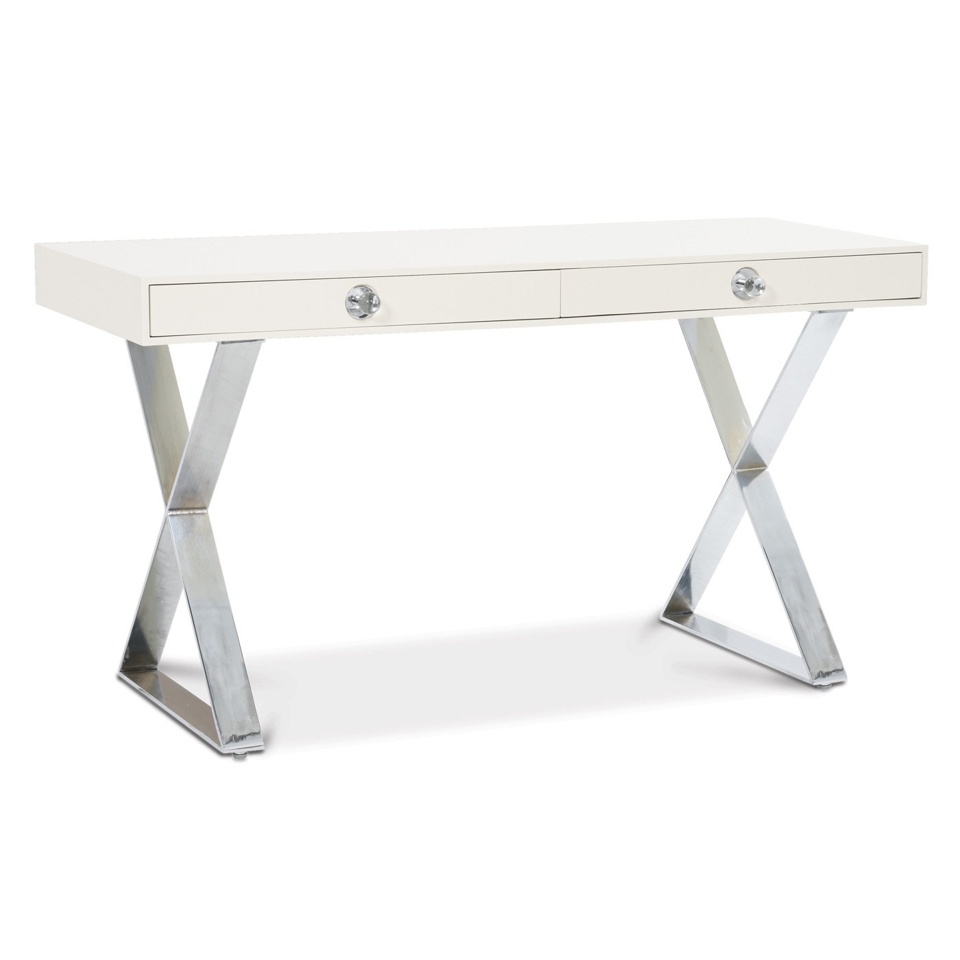 White Lacquer Desk With An X Base And Polished Nickel Legs From Jonathan Adler