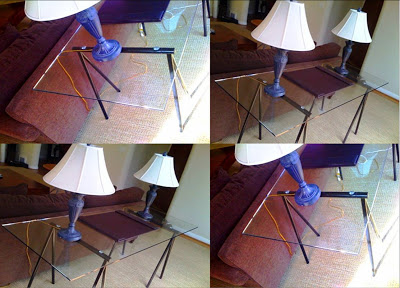 Collage of a homemade trestle table