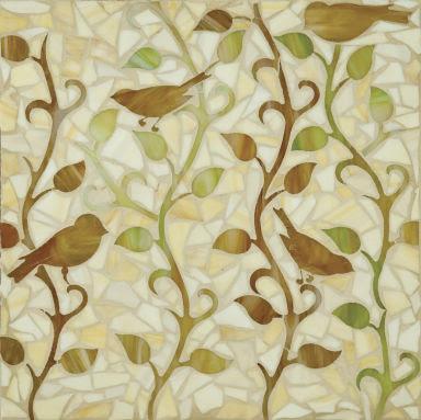 Erin Adams vine pattern tile with bird detail