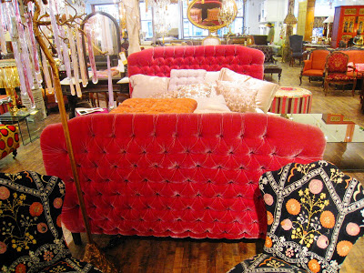 Pink velvet tufted upholstered bed from ABC Carpet & Home