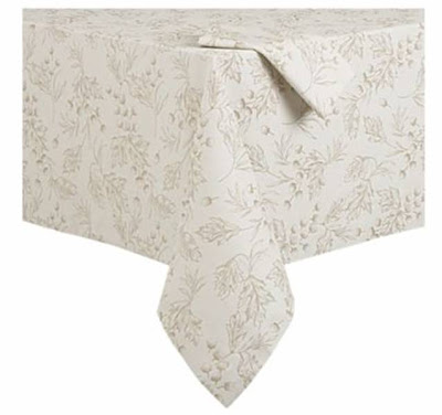 cream colored tablecloth with earth toned acorn and leaf motif from Crate & Barrel