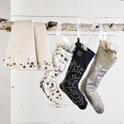 Shimmery sparkly stockings from West Elm