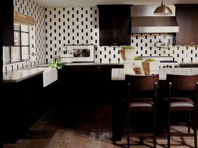 Kitchen designed by Betsy Burnham with black and white tiles, quartz stone countertop and stainless appliances