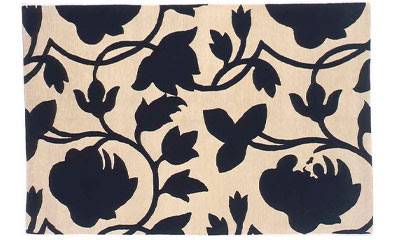 Black and off-white (cream) floral patterned carpet from Madeline Weinrib