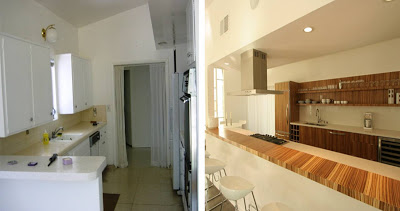 Before and After of a kitchen remodeled by The Sunset Team/La Kaza Design
