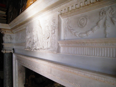 Detail of relief on stone fireplace mantel in Grand Salon Ballroom in the Greystone Mansion