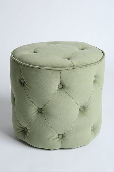 Green tufted velvet round ottoman from Urban Outfitters