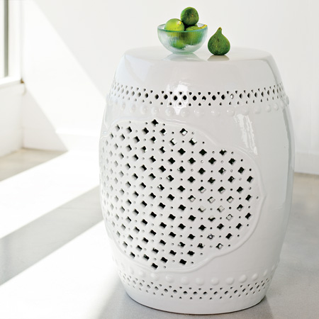 White Porcelain Ceramic Accent Table With Quatrefoil Motif From West Elm