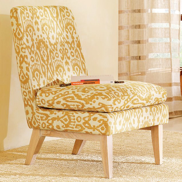 Cheap to chic acquiring an eye for ikat cococozy for West elm yellow chair