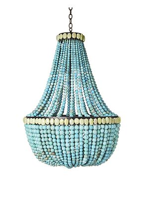 Turquoise empire chandelier on a dark steel frame from Maison Luxe