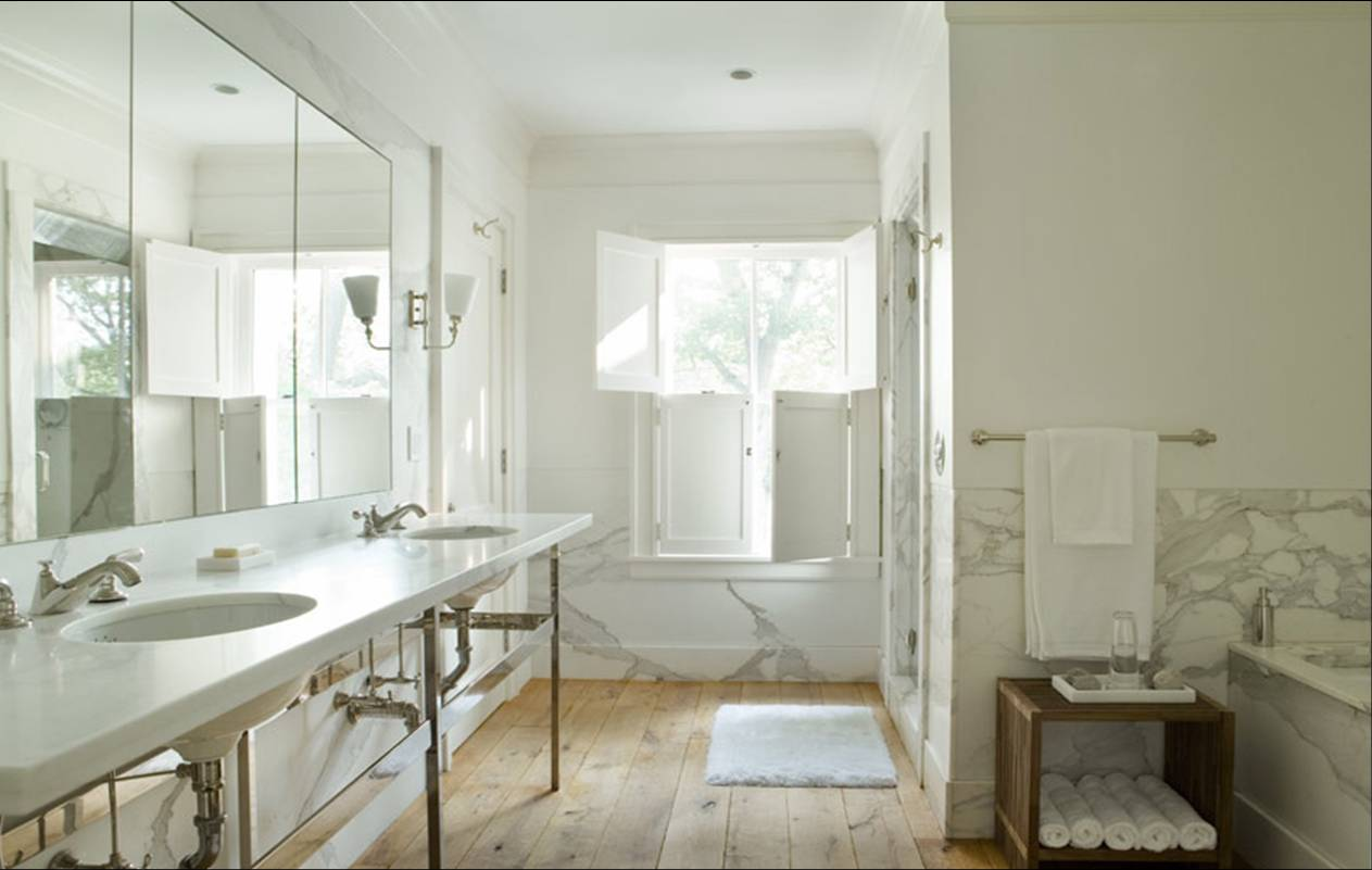 ROOM TO LOVE: A SOOTHING SPA-LIKE BATH MADE OF MARBLE AND WOOD ...
