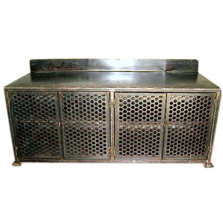 Vintage 1940s iron cabinet with pierced metal doors from Balsamo Antiques