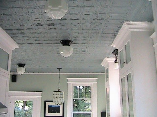 Classic pressed tin ceiling mounted kitchen light from Schoolhouse Electric