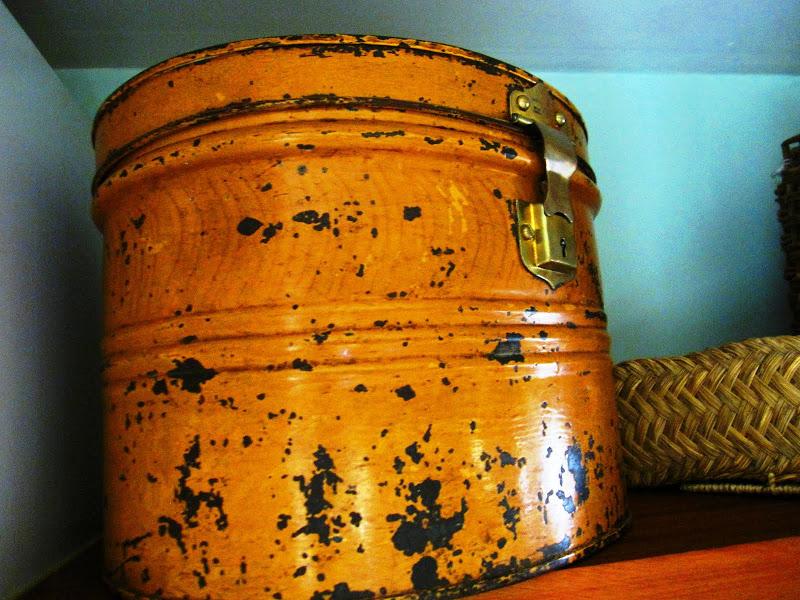 Vintage mustard yellow hat box