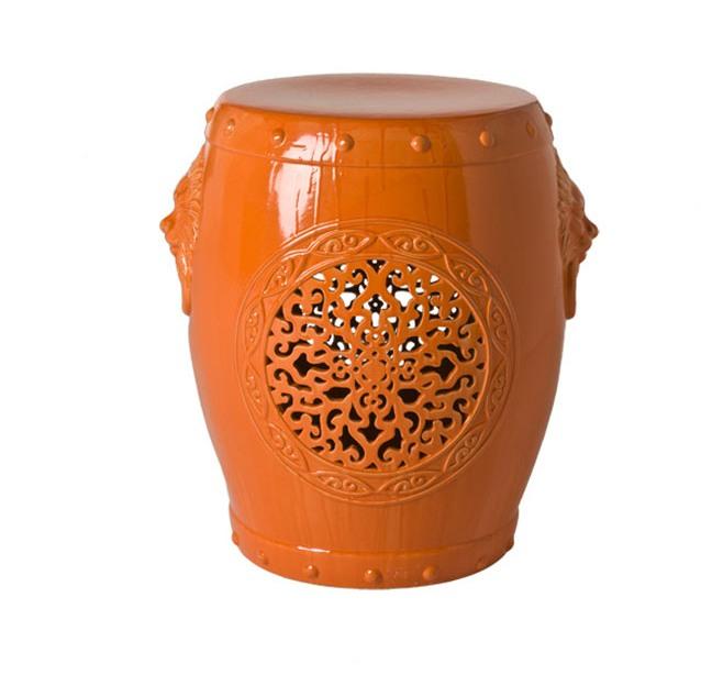 Orange Chinese garden stool from Plantation
