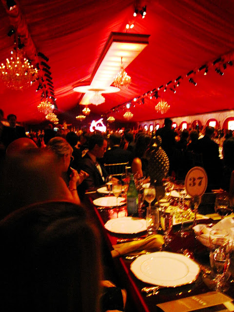 Inside the dining tent at MOCA's 30th anniversary party