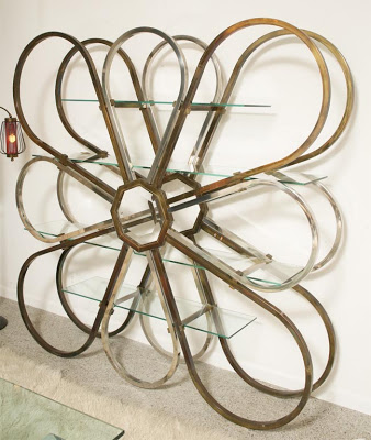 Vintage chrome, brass and glass shelving unit or room divider in the style of Milo Baughman from Objects in the Loft