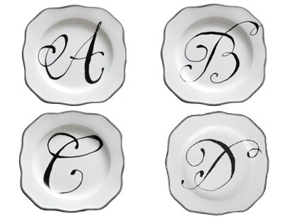 Petite monogrammed script plates from Jayson Home & Garden