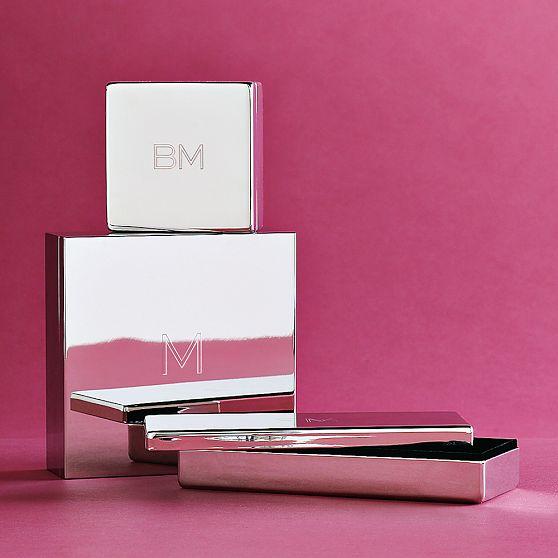 Three monogrammed metal keepsake boxes from West Elm
