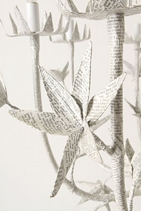 Close up of a floral handcrafted iron chandelier covered with encyclopedia print from Anthropolgie