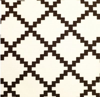 Chant Fabric swatch in white and chocolate brown