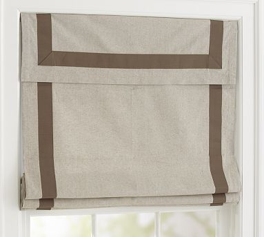 Roman shade with grosgrain ribbon trim from Pottery Barn