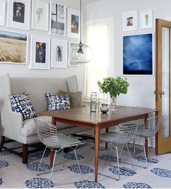 Blue and grey all the way in a small victorian cottage cococozy - Ways of accessorizing love seats ...