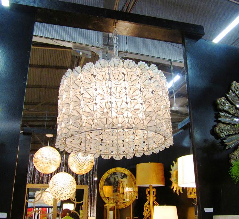 floral capiz shell drum chandelier