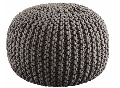 Grey knitted pouf