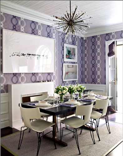 Weekend photo the kips bay decorator show house eat in for Purple kitchen wallpaper