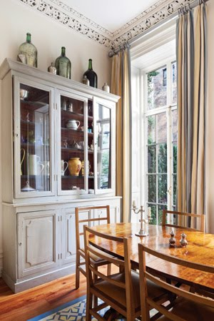Grey Dining Room With High Ceilings, Carved Moldings, A Grey China Cabinet,  Large