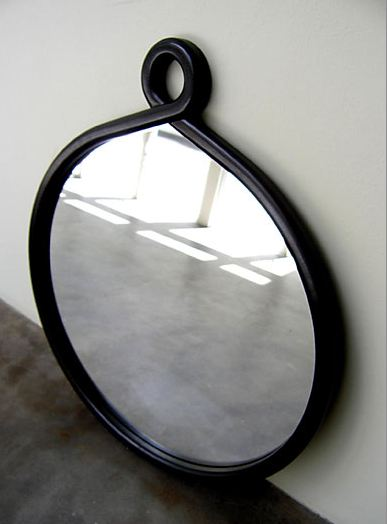 Black round loop mirror