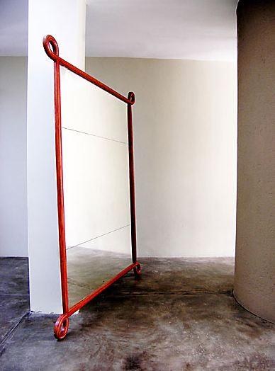 Mahogany square loop mirror