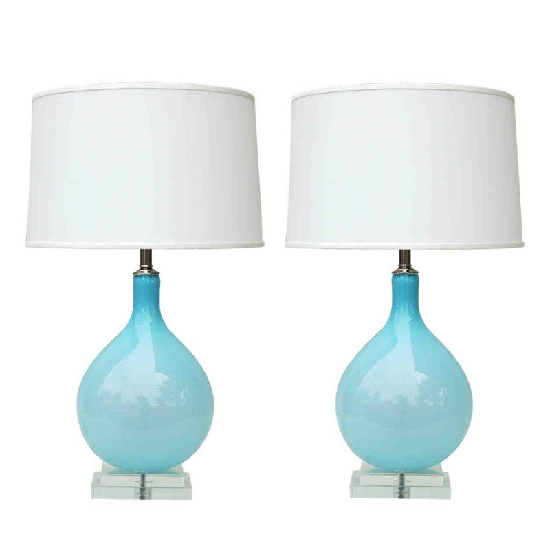 Light blue hand blown Murano glass table lamps by Joe Cariati with white shades