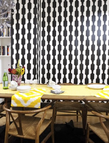 Black and white digitally printed wall paper from AprhoChic
