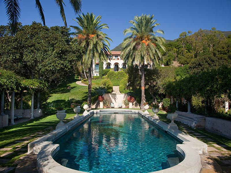 Large pool in the backyard of a Montecito mansion