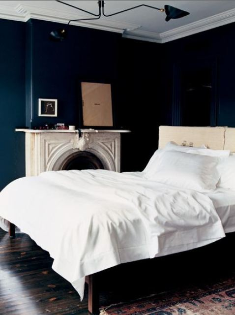 Black And Dark Blue Bedroom color watch: dark rooms - pitch black and navy blue walls are back