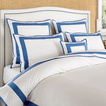 Blue and white duvet and pillow shams from Williams Sonoma Home
